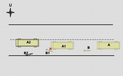 Sket kronologi kejadian kecelakaan lalu lintas antara Kbm Bus No.Pol. AB-2833-CA dengan sepeda kayuh. Ket : A : Bus   B: Sepeda kayuh