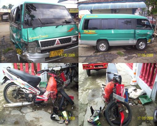 Foto kondisi KBM L 300 No.Pol. E-7795-Y dan SPM Yamaha No.Pol. AA-2690-EW setelah kecelakaan.