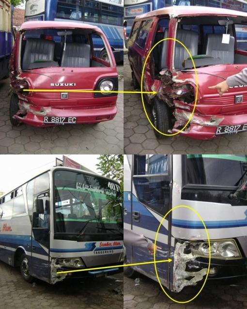 Keterangan ( gambar atas : kondisi Kbm Suzuki Carry No.Pol. R-8817-EC setelah kecelakaan  -   kondisi Kbm Bus No.Pol. AA-1440-FC setelah kecelakaan )