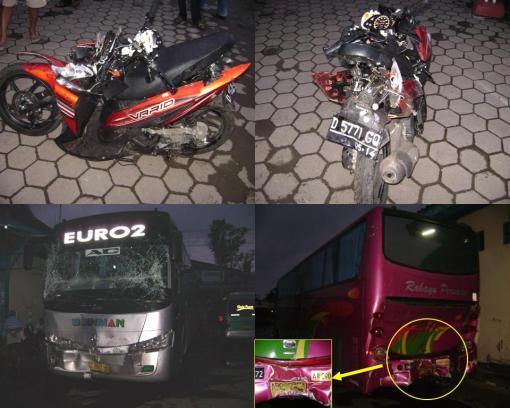 Keterangan gambar ( 2 gambar atas : kondisi Spm Vario setelah kecelakaan  -  gambar bawah : Kondisi Bus PO. Budiman & Bus PO. Rahayu setelah kecelakaan )