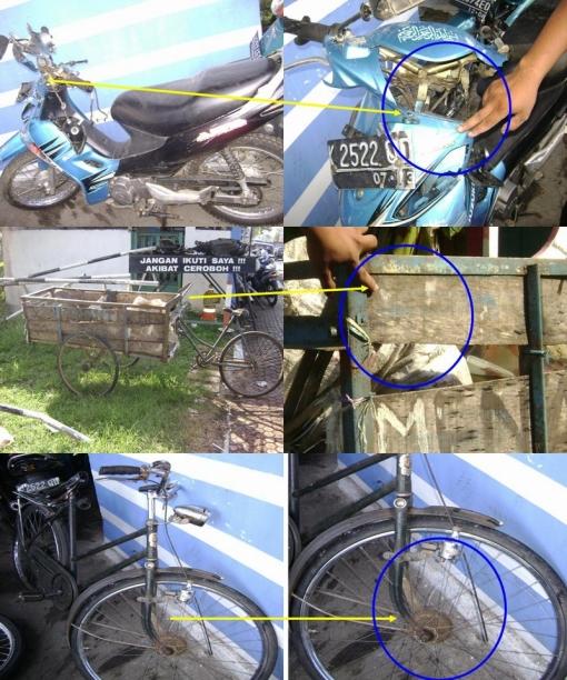 Keterangan gambar ( atas : kondisi Spm setelah kecelakaan beserta titik tabraknya  -  tengah : kondisi gerobak setelah kecelakaan beserta titik tabraknya  -  bawah : sepeda kayuh setelah kecelakaan beserta titik tabraknya )