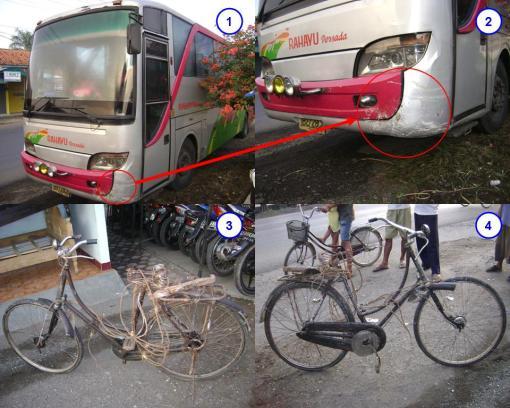Keterangan gambar ( 1 : kondisi bus No.Pol. AB-2728-CA setelah kecelakaan  -  2 : titik tabrak pada Bus lingkaran merah  -  3 &4 : kondisi sepeda kayuh setelah kecelakaan )